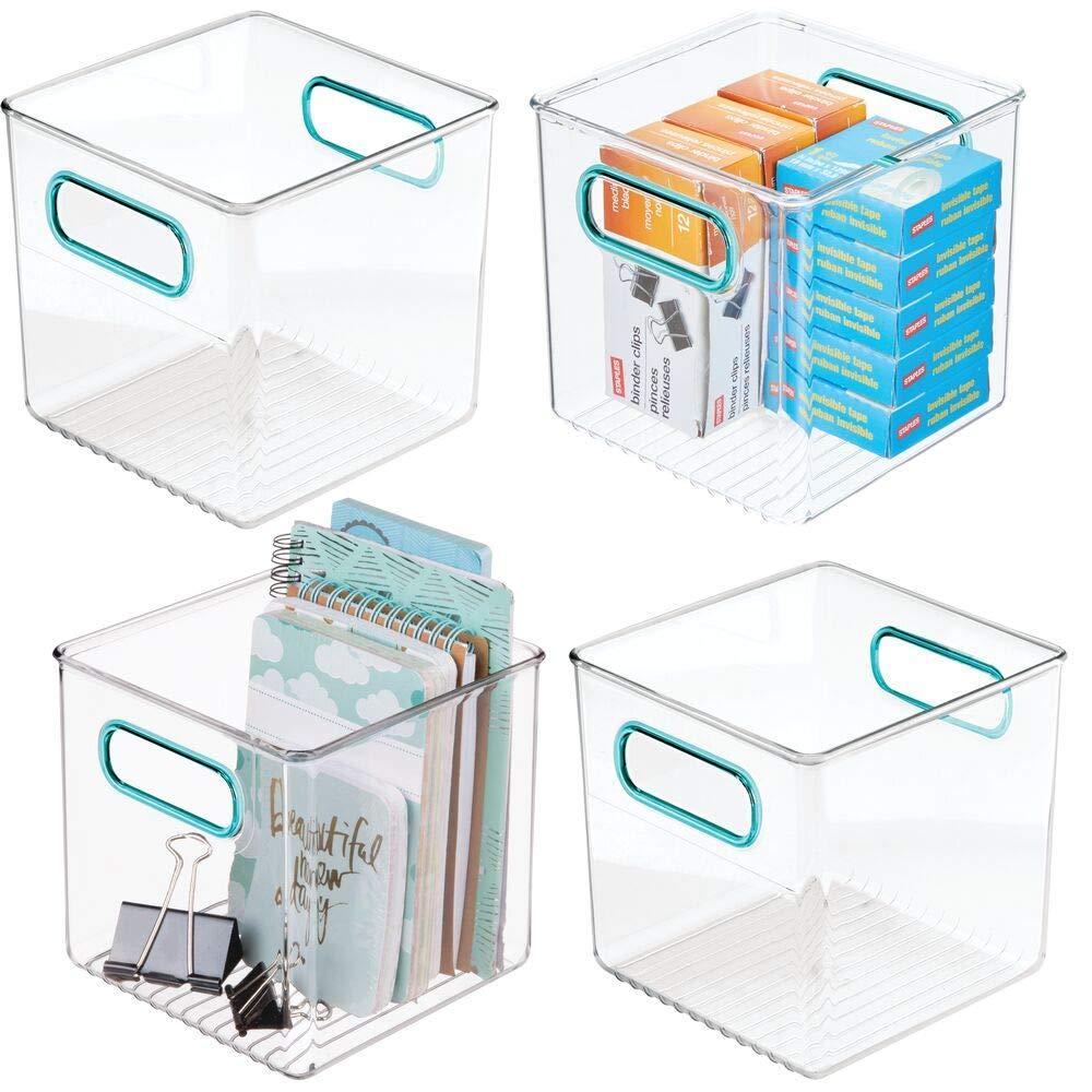 transparente//azul ba/ño o material de oficina Cajas organizadoras para cocina mDesign Juego de 4 cajas de almacenaje con asas integradas Organizador de escritorio en pl/ástico