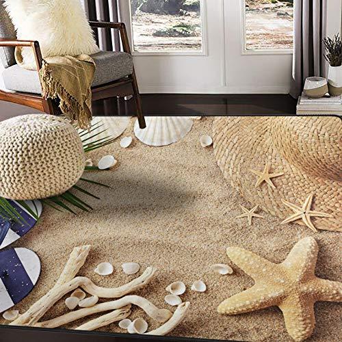 (ALAZA Sandbeach Starfish Shell Tropical Area Rug Rugs for Living Room Bedroom 7' x 5')