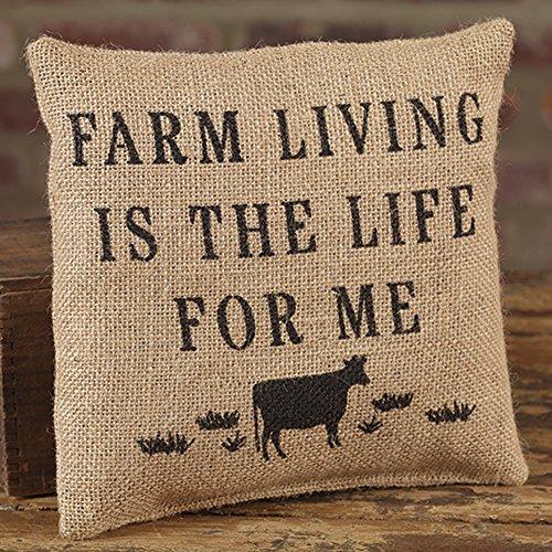 Farm Living Life For Me 8 x 8 Burlap Decorative Throw Pillow [並行輸入品] B07RCDXKW9