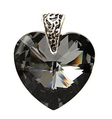 28mm silver night black crystal heart pendant with sterling silver 28mm silver night black crystal heart pendant with sterling silver filigree bail pendant only audiocablefo