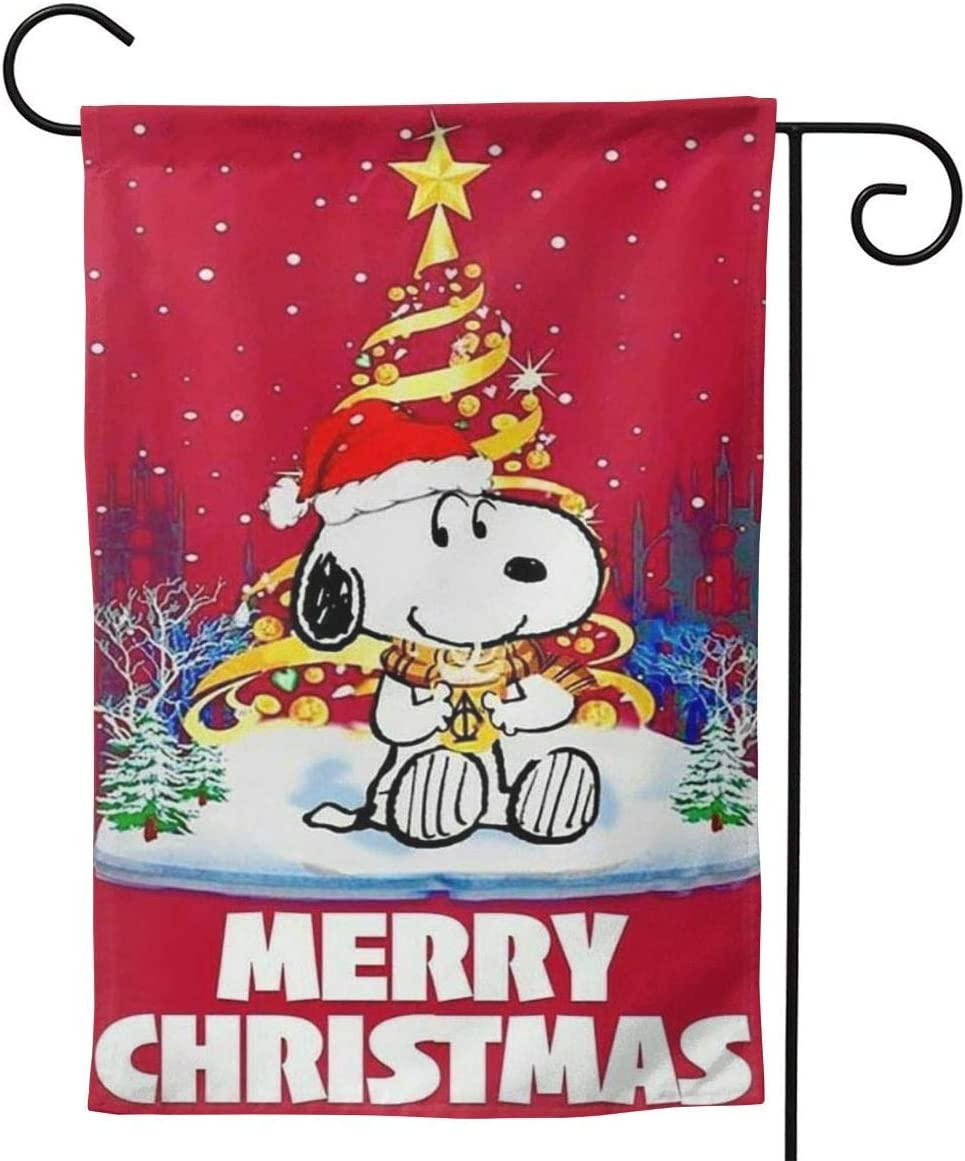 OAbear Merry Christmas Snoopy Red Flag Unique Double Sided Garden Yard Decorations Flag 28 X 40Inch