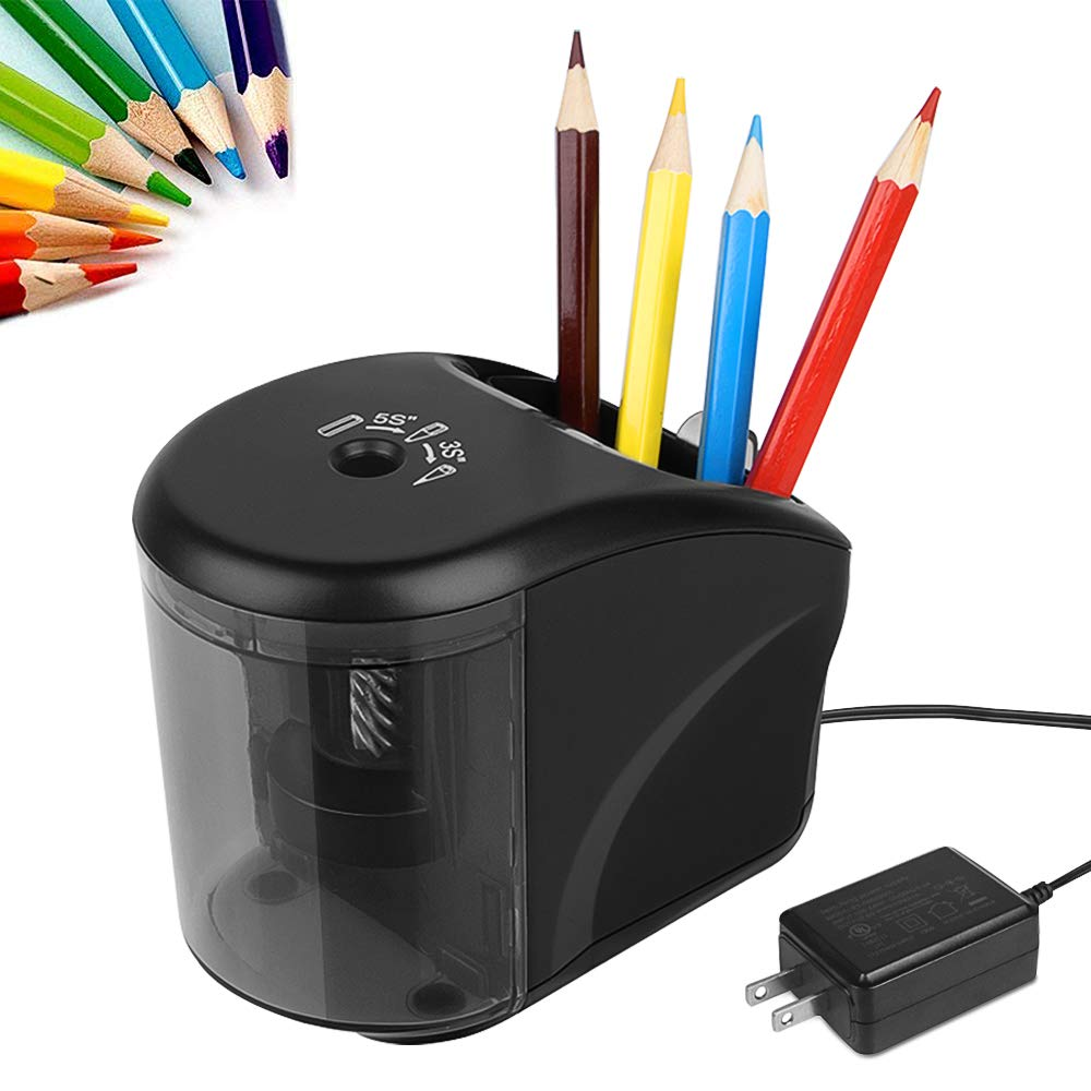 Electric Pencil Sharpener, Power Adapter(Include)/Battery Operated Pencil Sharpener with Pencil Holder,Heavy Duty Blade for Colored Pencils,Essential School Supply for Classroom Office Home by omitium
