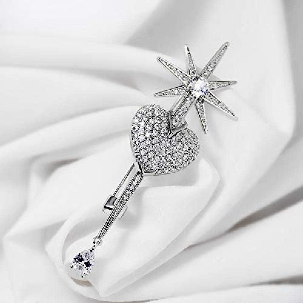 Love Eight Star Crystal Brooch Anti-Going Silk Scarf Buckle Coat Western Ornament Badge Gift