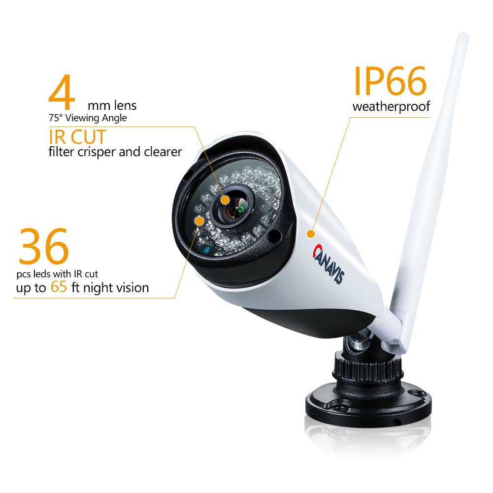 CANAVIS HD 1280×720 Res CCTV Wireless Wifi 1MP Security Network Camera System Android Compatible Weatherproof Outdoor 960P NVR Surveillance Recording Cam With 3.6mm Lens 65ft Night Vision, No HDD by CANAVIS (Image #3)