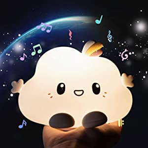 Cute Night Light With Music,Color Changing Cloud Nightlight For Kids, Silicone Nursery Lamp For Bedroom Decor,Kawaii Led Lights,Gifts For Baby Toddler,Tap Control, Portable,Battery Operated,Multicolor