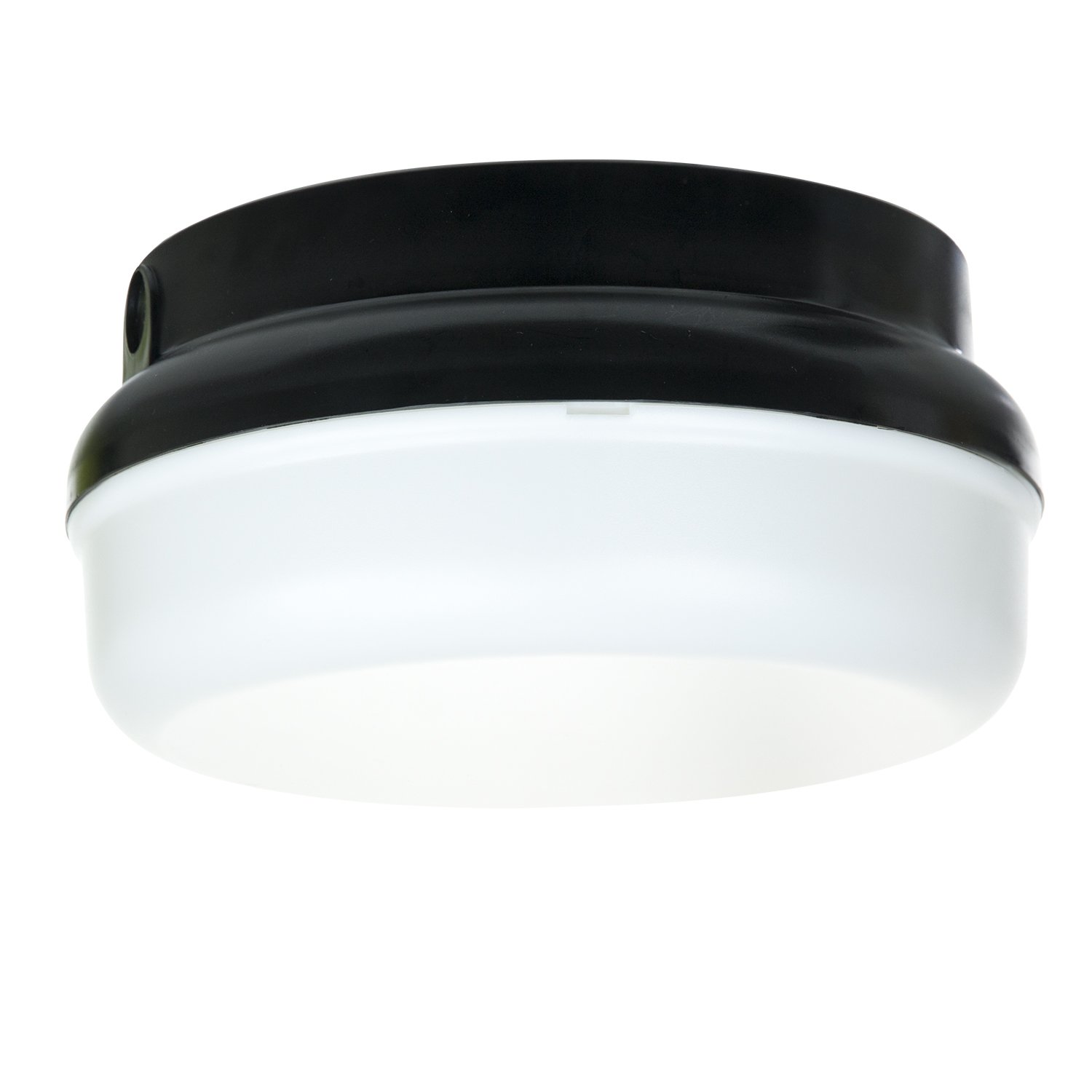 Sunlite 48216-SU DOD/PTR/BK/WH/GU24 Decorative Outdoor Energy Saving Protek Round Polycarbonate Fixture, Black Finish, White Lens
