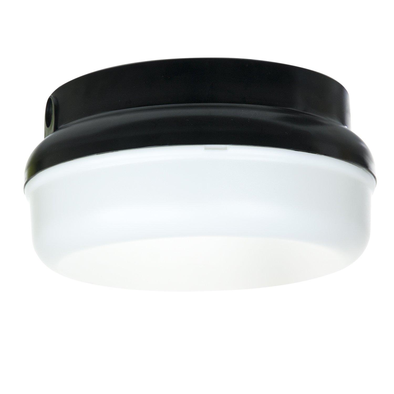 Sunlite 48216-SU DOD/PTR/BK/WH/GU24 Decorative Outdoor Energy Saving Protek Round Polycarbonate Fixture, Black Finish, White Lens by Sunlite