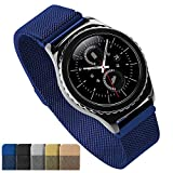 Milanese Loop Smart Watch band Strap Magnetic Clasp Closure Lock Stainless Steel Quick Release Replacement Bracelet Men Women 18mm 20mm 22mm Blue