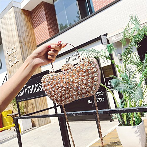one Shoulder Bag Shiny Rhinestone Bridal Chain Clutch Set Evening Diagonal Pack Oval Pink Women xqY8TzI