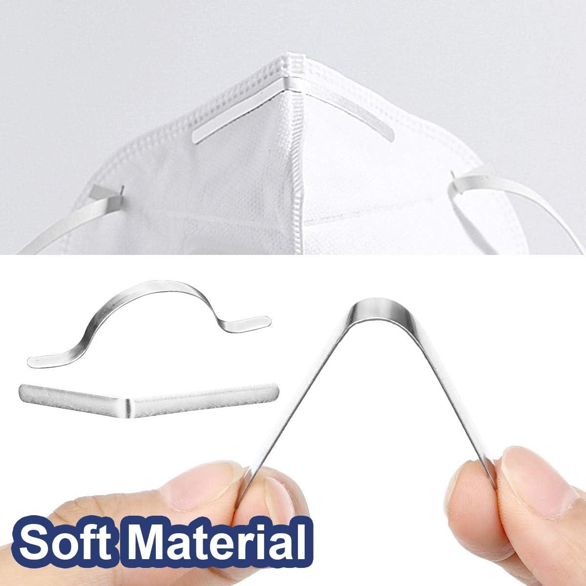 Herefun 200 Tiras de Puente Nariz Clip accesorios manualidades aluminio para puente nariz soporte para puente la nariz autoadhesivo de metal plano para soporte para puente la nariz DIY Cubierta Cara