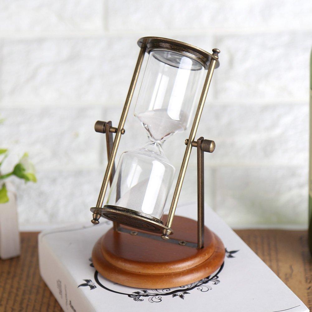 15 Minuten Sanduhr Metall Glas Rotierende Sand Timer mit h/ölzernen Basis f/ür Geschenke Spielzeug Home Office Desktop Dekor