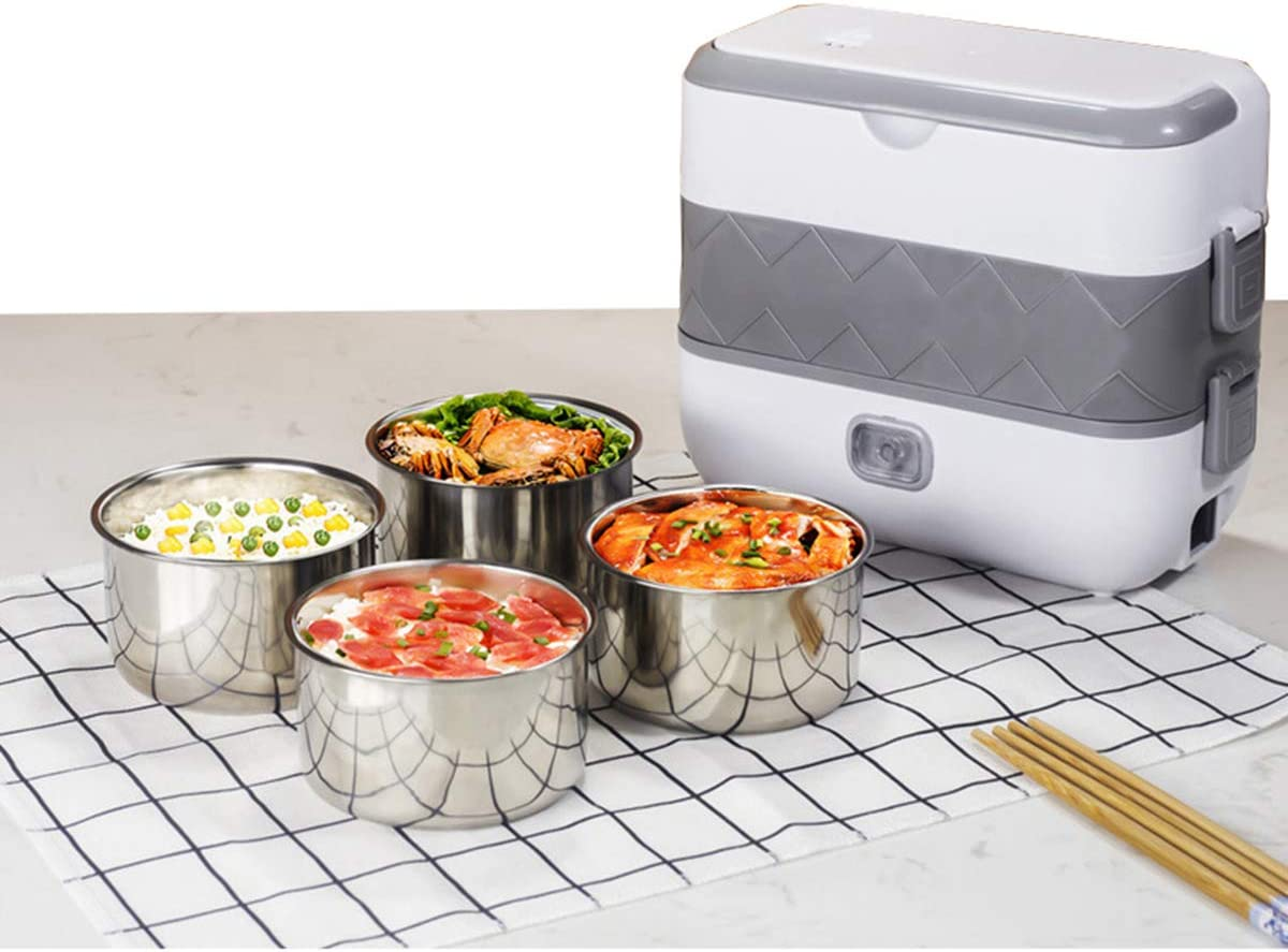 Stainless Steel Electric Lunch Box 110V 4 in 2 Layer Thermal Heating Food Steamer Cooking Container Portable Office Mini Rice Cooker 2L White