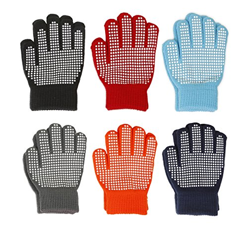 Price comparison product image Gilbin Magic-Stretch Gripper Glove,  Kids Size,  Colorful Set,  6 Pair (Boys)