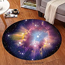 Sophiehome Soft Carpet 111293468 Supernova Explosion Anti-skid Carpet Round 34 inches
