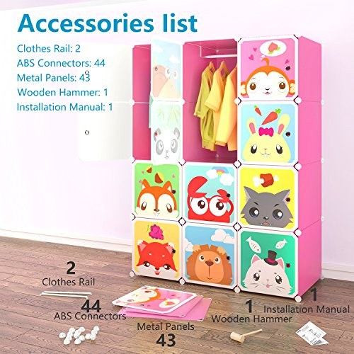 Tespo Portable Clothes Closet Wardrobe for Children and Kids, Cute Cartoon, DIY Modular Storage Organizer, Sturdy and Safe Construction, 12 Deeper Cubes with Hanging Rods, Pink by Tespo (Image #6)