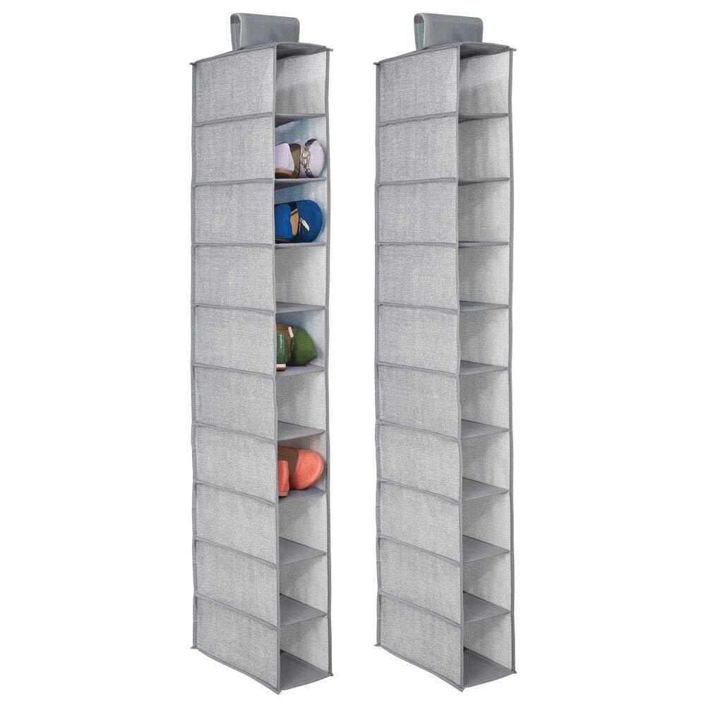 mDesign Juego de 2 muebles zapateros para colgar - Organizador de zapatos para armario con 10 compartimentos - Estanterías para zapatos, bolsos o carteras ...