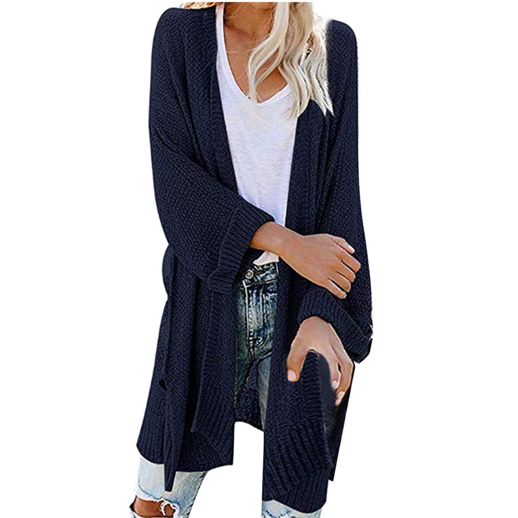 SturrlyWomen's Casual Open Front Long Sleeve Knit Cardigan Sweater Coat with Pockets Navy by Sturrly