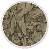 Pixels Round Beach Towel With Tassels featuring ''Two Nude Men One Standing, One Reclining'' by Pixels
