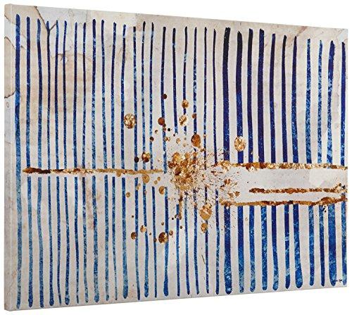 "61aet1ljL0L Blue Stripes and Gold Burst Canvas Print, 36"" x 24"""