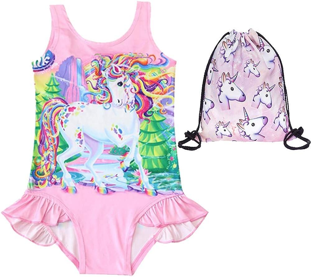 Free Bag UsHigh Girls Unicorn Bathing Suit One Piece Swimsuit Ruffle Swimwear
