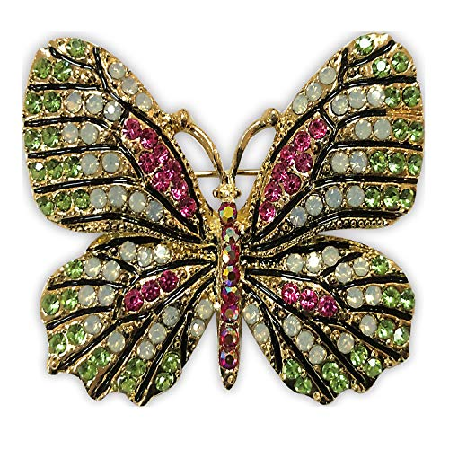 ZUOZUOYA Vintage Winged Butterfly Brooch - Colorful Crystal Rhinestones Cute Animal Corsage Pin with Gold Tone - Great for Wife,Sisters,Friends or Daily Wear
