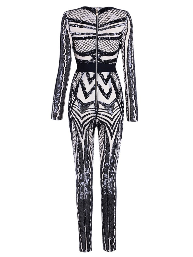 Tina Beauty Sexy Nude Mesh Black Sequins Zip Back Long Sleeve Jumpsuits Small by Tina Beauty (Image #2)