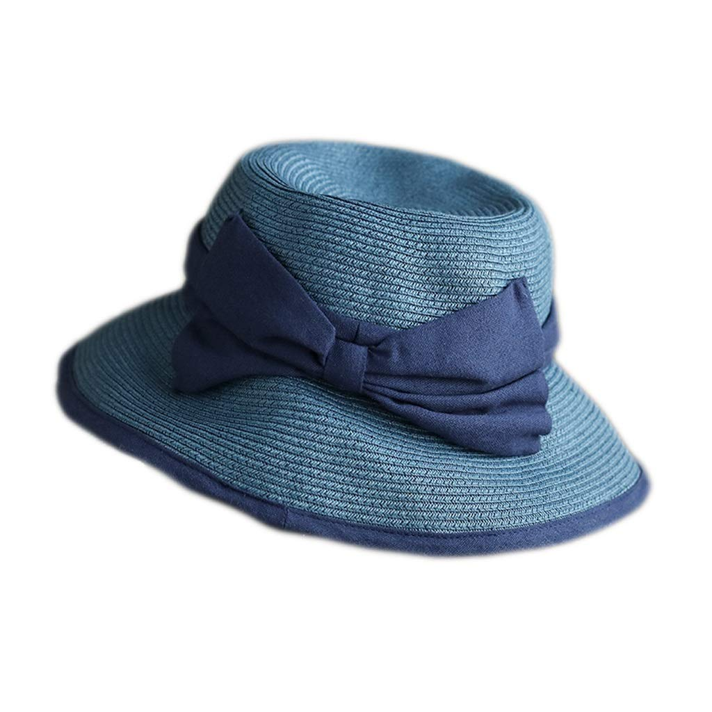 bluee Summer Collapsible Basin Cap, Casual Foldable Visor Simple Bow Sun Hat Soft Foldable 3 colors (color   bluee)