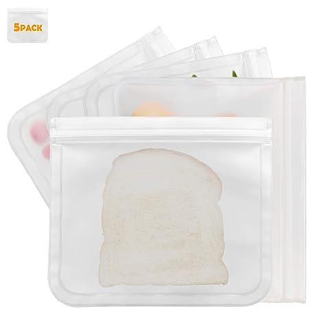 Amazon.com: Bolsas reutilizables para sándwiches, 5 paquetes ...