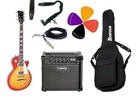Juego de guitarra eléctrica tipo Les Paul, Combo Laney, correa, bolsa Ibanez y cable: Amazon.es: Instrumentos musicales
