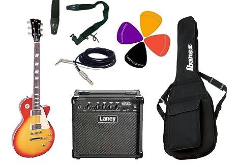 Juego de guitarra eléctrica tipo Les Paul, Combo Laney, correa, bolsa Ibanez y