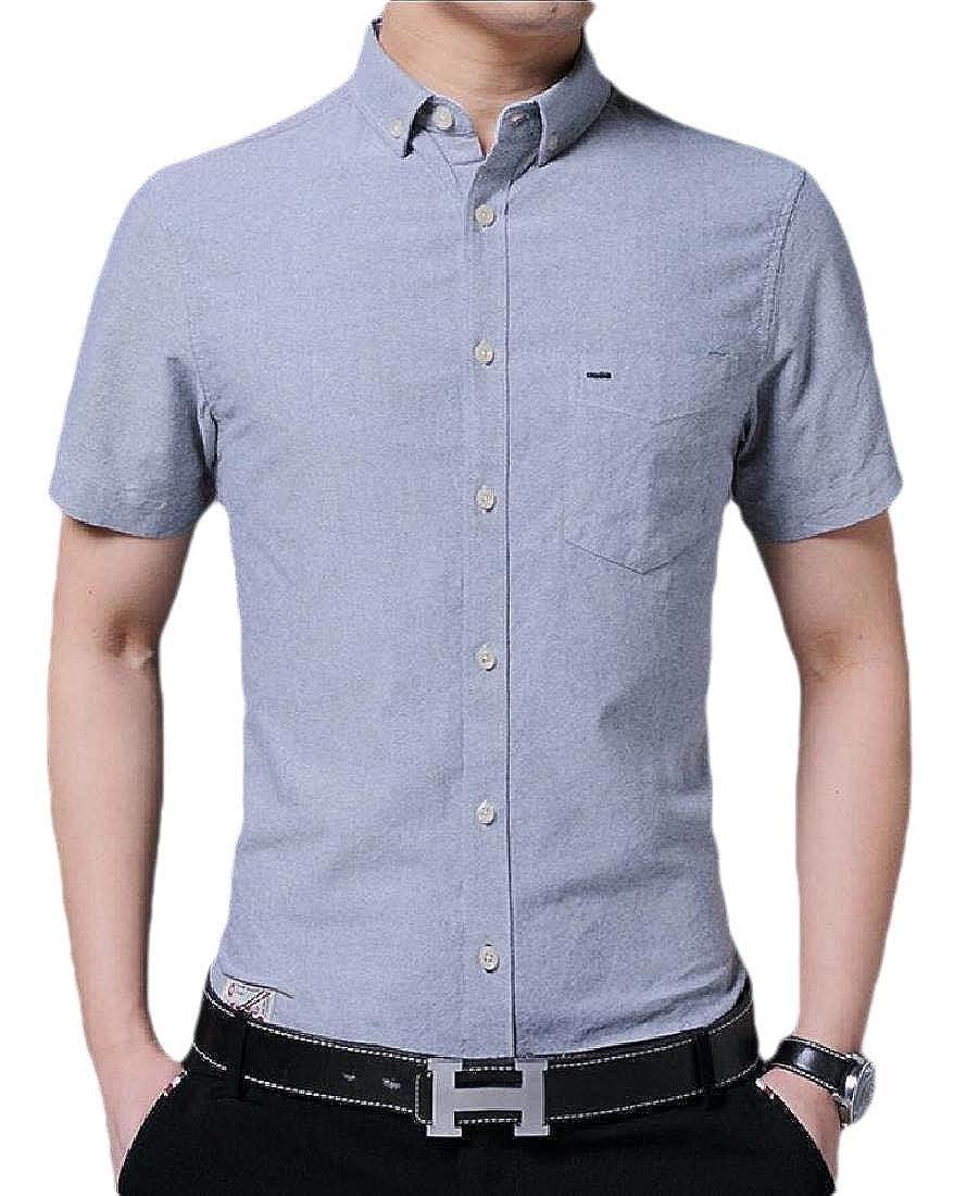 desolateness Mens Casual Slim Fit Dress Shirt Business Short Sleeve Button Down Shirt