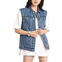 XIAOADAI Women's Denim Jean Vest Sleeveless Jackets Distressed Classic Vest Cotton