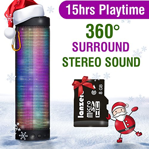 Price comparison product image MUSIC ANGEL ® Portable Wireless Bluetooth Speakers 4800mAh Rechargeable Battery for 15 Hours Playtime Bluetooth Speaker Five LED Display Mode Powerful DSP Sound 4.0 Technology with Build in Microphone for Indoor/Outdoor/Shower Usage
