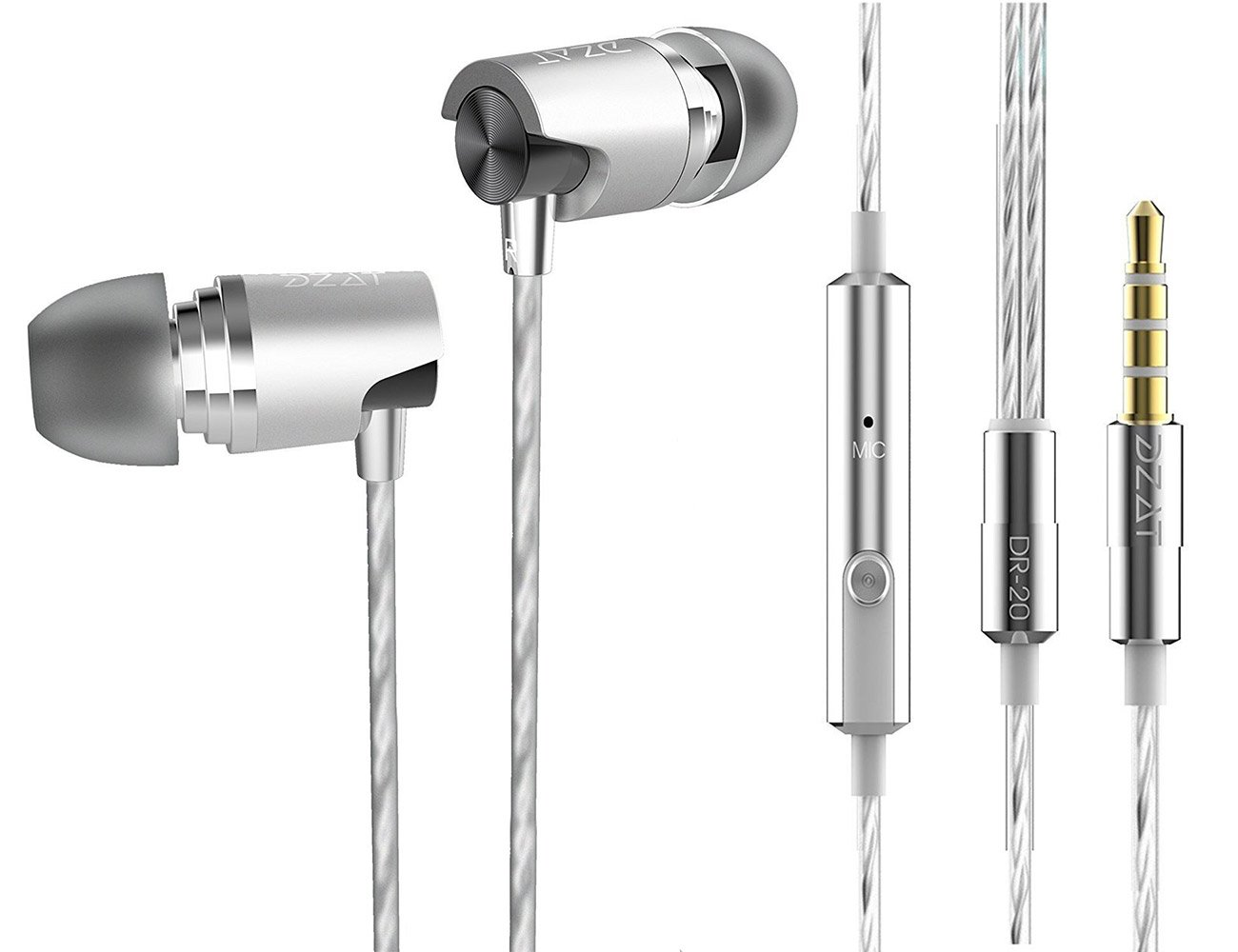Headphones with Microphone, in Ear Headphones with Microphone Controller Noise Cancelling Earbuds DR-20 Black