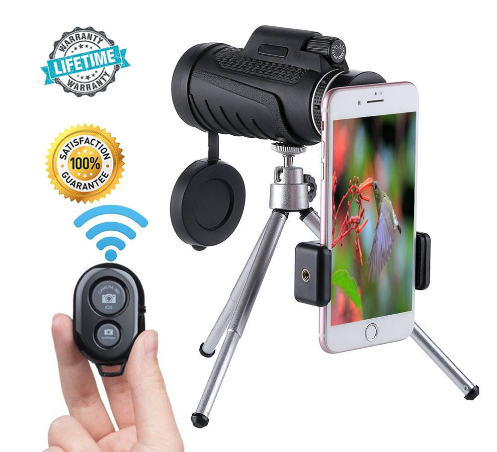 Monocular Telescope,40x60 High Powered Prism Scope Waterproof Monoculars with Quick phone Mount Adapter and Tripod,Fogproof Optics FMC BAK4 Prisms, Single Hand Focus for Outdoor Bird Watching Hunting
