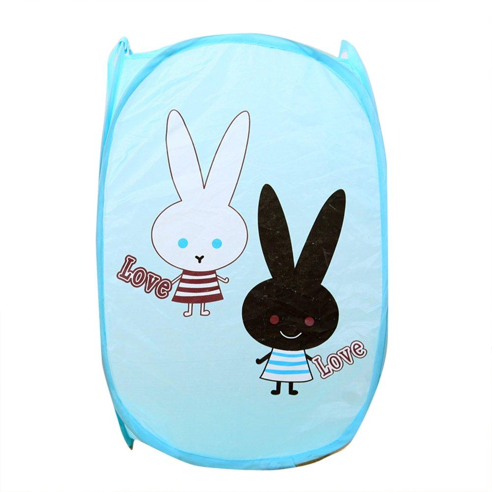 Dimart Super Cute Love Rabbit Pop-up Open Foldable Net Mesh Laundry Hamper Clothes Storage Basket, Blue Dimart C