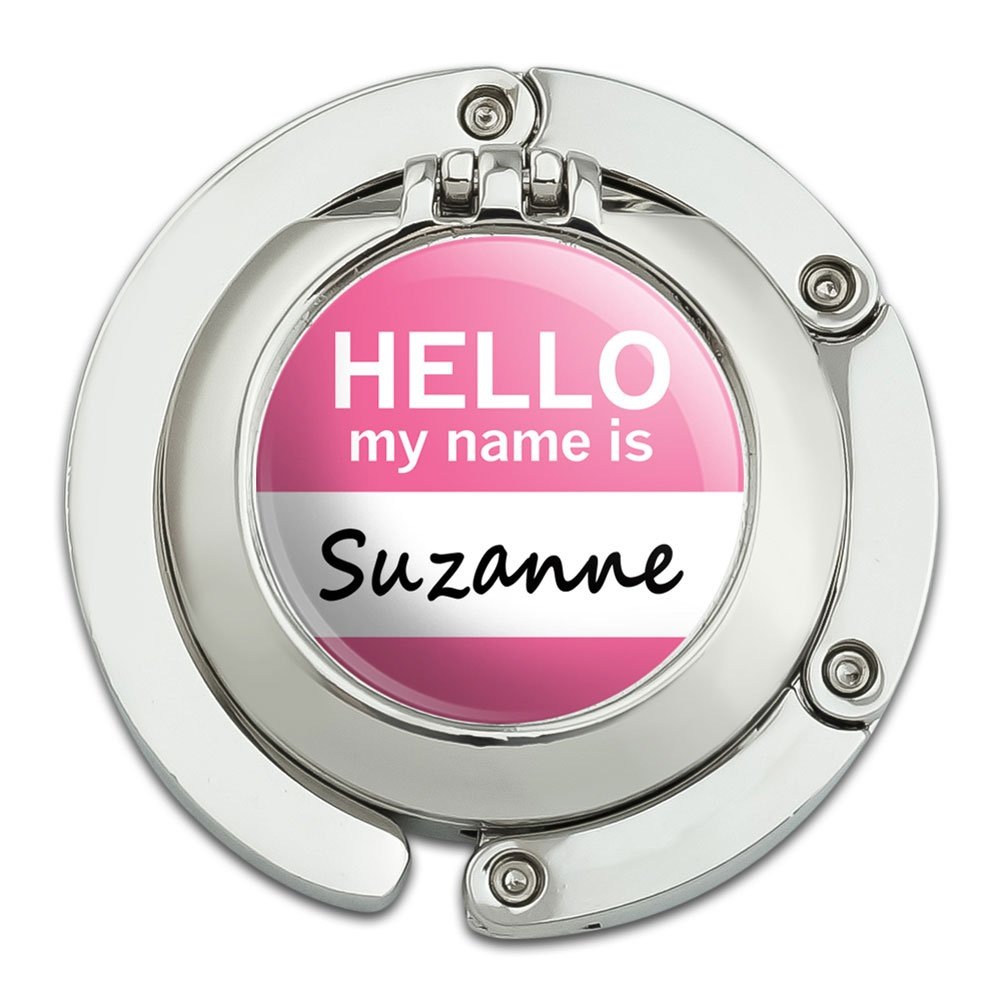 Suzanne Hello My Name Is Foldable Table Bag Purse Caddy Handbag Hanger Holder Hook with Folding Compact Mirror