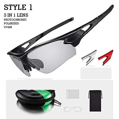 Amazon.com: Gafas de ciclismo polarizadas fotocromáticas ...