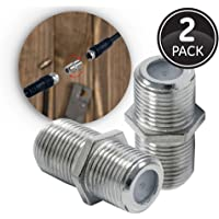 GE Coaxial Cable Extension Adapter Couplers, 2-Pack, Works on F-Type RG59 RG6 Coax Cables, Connects Two Coaxial Cables to Extend Length, Female-to-Female Connectors, 23203