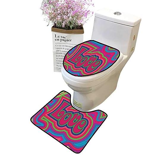 Juego de tapete de baño con diseño de símbolo de la Paz y Flores ...