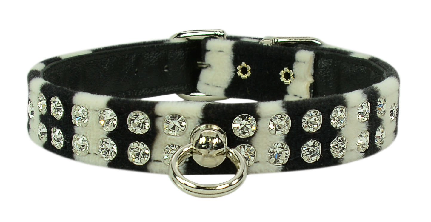 Evans Collars 1/2'' Jeweled Collar, Size 10, Animal Prints, Zebra