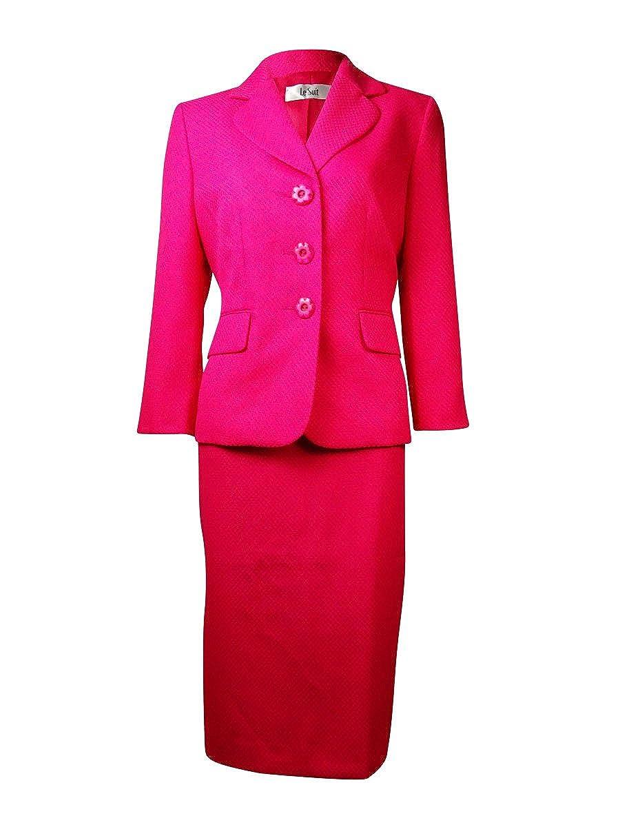 Le Suit Womens 2PC 3-Button Blazer Skirt Suit
