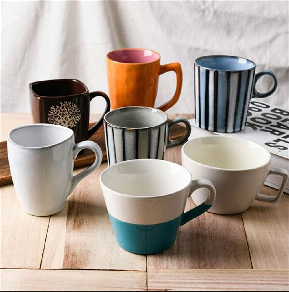 Ceramic teacups cappuccinos Mugs Cups with Bright Colors Coffee Cups Durable Porcelain 11.7 x 7.9cm Orange