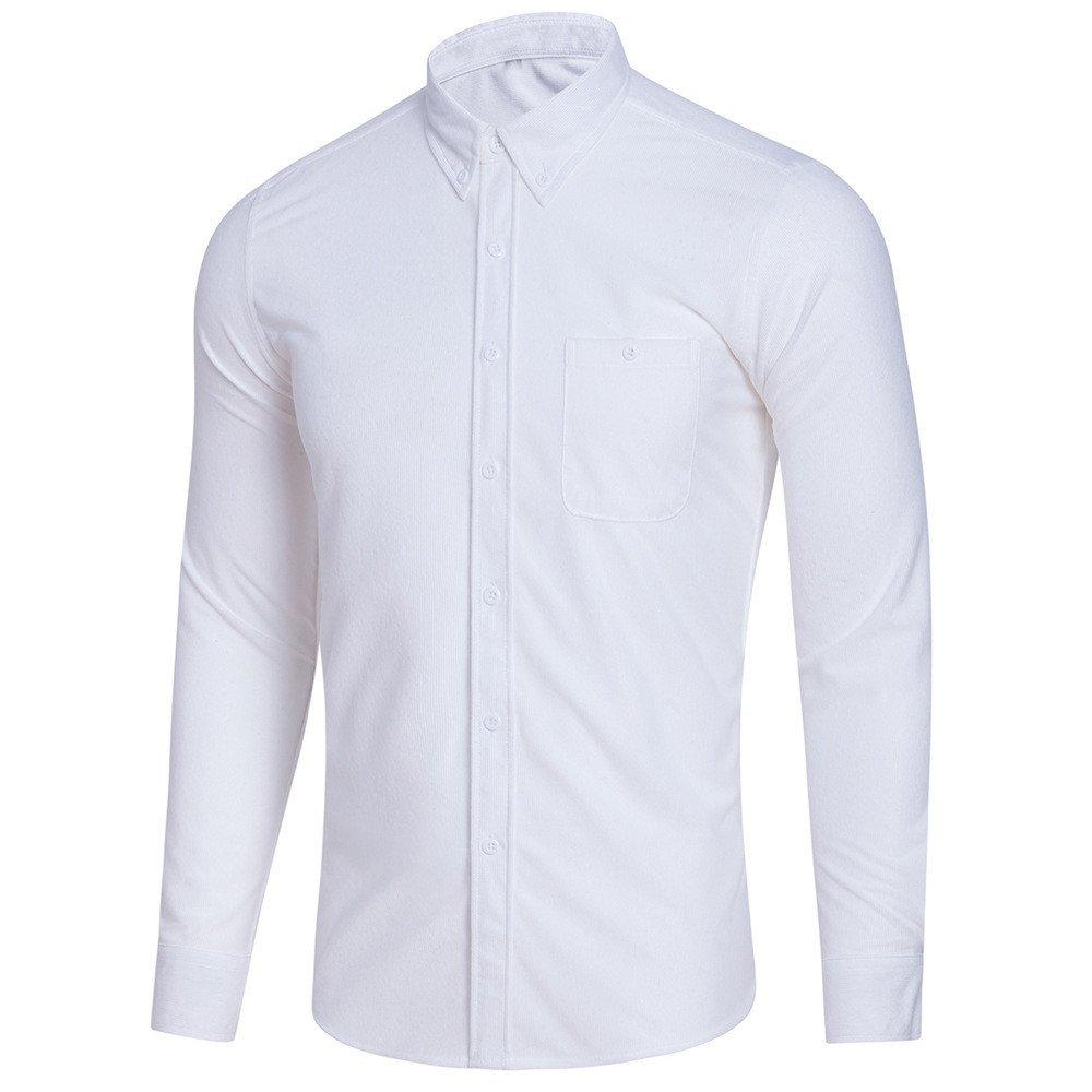 Hombre camisa manga larga Otoño,Sonnena ❤ Blusa de manga larga casual de los hombres más tamaño Color sólido con la camisa del botón Blusa superior: ...