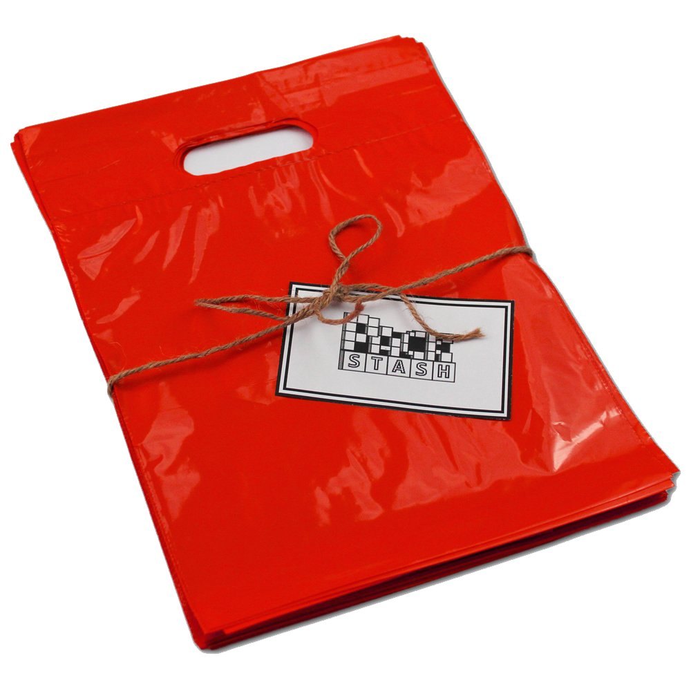 PackStash (500 QTY) 16'' x 18'' x 4'' RED Retail Merchandise Plastic Shopping Bags - (LARGE) Premium Tear-Resistant Film, Double Thick Handles, Vibrant Glossy Finish