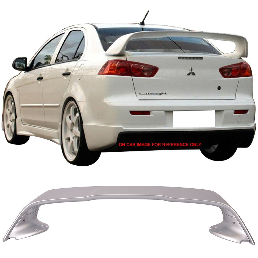 Pre-painted Trunk Spoiler Fits 2008-2017 Mitsubishi Lancer EVO X 10 | Painted Apex Silver # A31 ABS Rear Spoiler Tail Lip Deck Boot Wing Other Color Available by IKON MOTORSPORTS | 2009 2010 2011 2012
