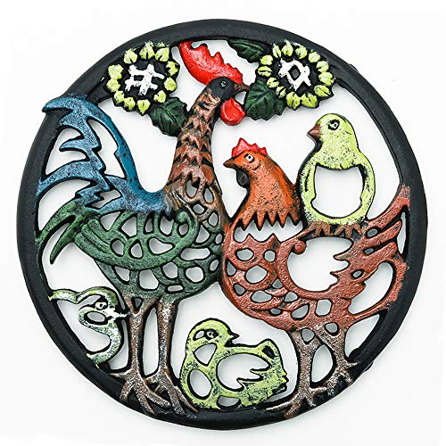 Sungmor Cast Iron Cock Trivet for Wood Stove - Dia-8.1 Inch Cock Family Image - Rustproof Round Stands for Hot Pots/Dishes/Pans - Decorative Metal Table Trivet for Kitchen Cooking