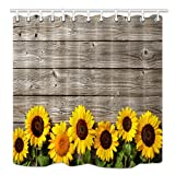 HNMQ Sunflower Shower Curtain, Spring Flowers on Rustic Wood Plank Country Theme, Mildew Resistant Waterproof Fabric Bathroom Decorations, Bath Curtains Hooks Included, 69X70 inches