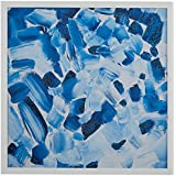 """Stone & Beam Abstract Hues of Blue in White Wood Frame, 18"""" x 18"""""""
