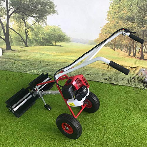 DONSU 43CC 1.7HP Gas Powered Sweeper Broom 2 Stroke Walk Behind Snow Sweeper Handheld Gasoline Brush Broom Sweeping Machine for Garden Lawn Yard Sidewalk Driveway Turf Grass Cleaning